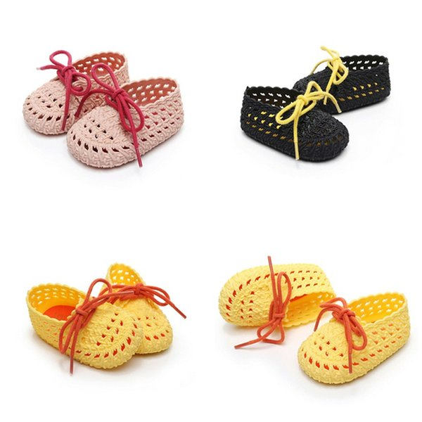 pudcoco Infant Newborn Baby Girls Non-Slip Plastic Sandals Bow Summer Buckle Hole Soft Sole Crib Shoes Sneaker Prewalkers 0-6Y