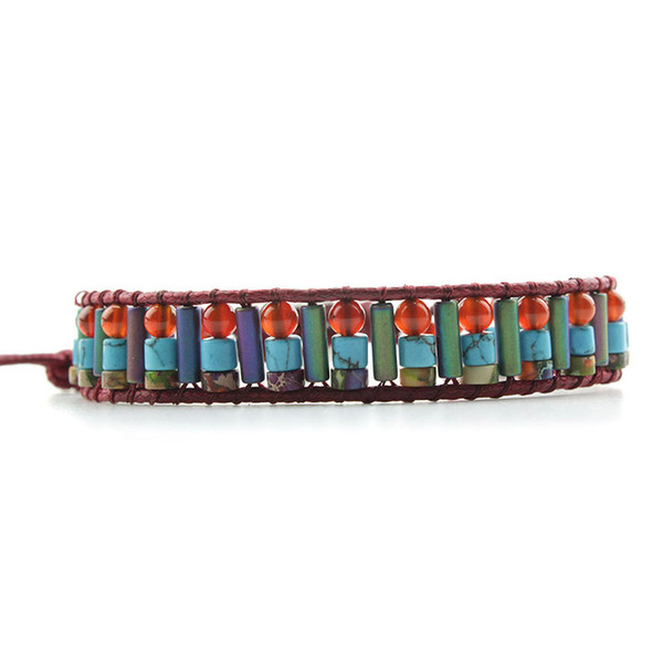 Ethnic Red/Blue Mix Natural Stone Strand Bracelets For Women Fashion Leather Rope Weave Lace-up Bangle Pulseira Bransoletka Gift
