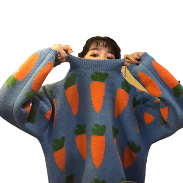 Cenoura de Natal Camisola de Tricô Mulher Befree Harajuku Pullover Plus Size Sueter Mujer Roupas de Inverno Mulheres Streetwear Suéteres