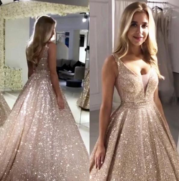 Magnifique Rose Or Paillettes Robes De Bal 2019 V Cou Étincelant Sequin A-ligne Dos Nu Prom Robes De Fête Robe De Soirée BM0246