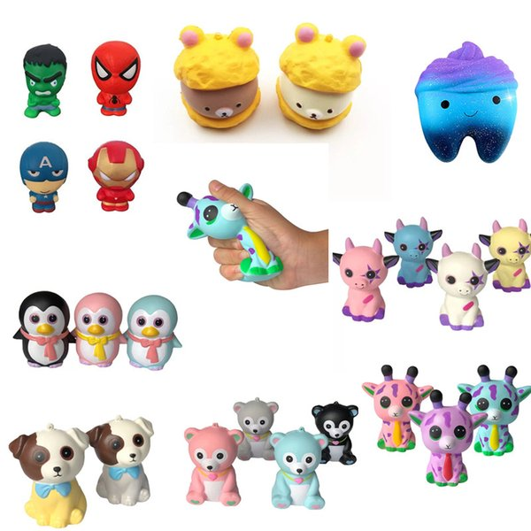 Newest INS Fidget Squishy Toy Dog Bear Fawn peach tooth shit penguin squishies Slow Rising Soft Squeeze Cute Strap gift Stress Gag Toys