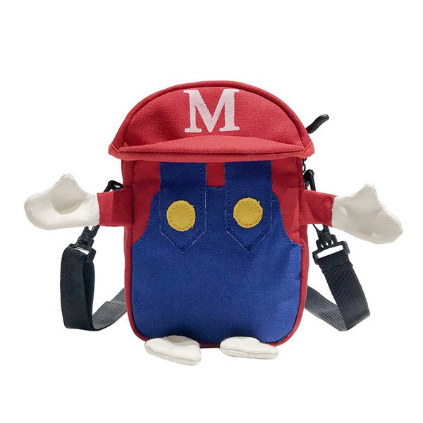 Cartoon Super Marie Bag Children Kids Coin Purse Canvas Shoulders Package Pupil Backpack Mario Luigi Bags Card Holder