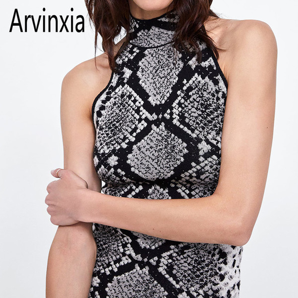 Arvinxia Za Sexy Snake Printed Sleeveless Woman Camis New Animal Pattern Off Shoulder Lady Tops Fashion Knitted Zipper Women Top Y19042801