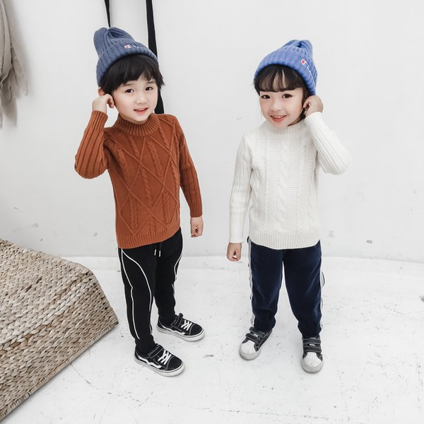 WLG boys girls winter thick sweaters kids white yellow black knitted long sleeve cardigans baby casual warm clothes children 3-7