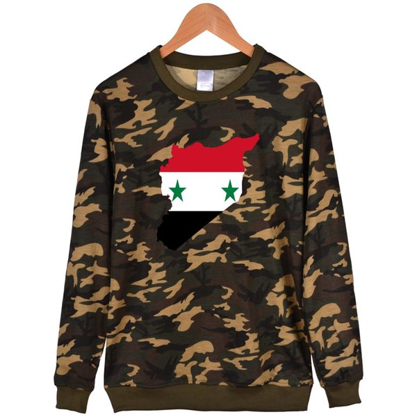 Syria Ripped Effect Camouflage Capless winter hoodies men casual Khaki high quality sweatshirt men hip hop Fashion 4XL clothes