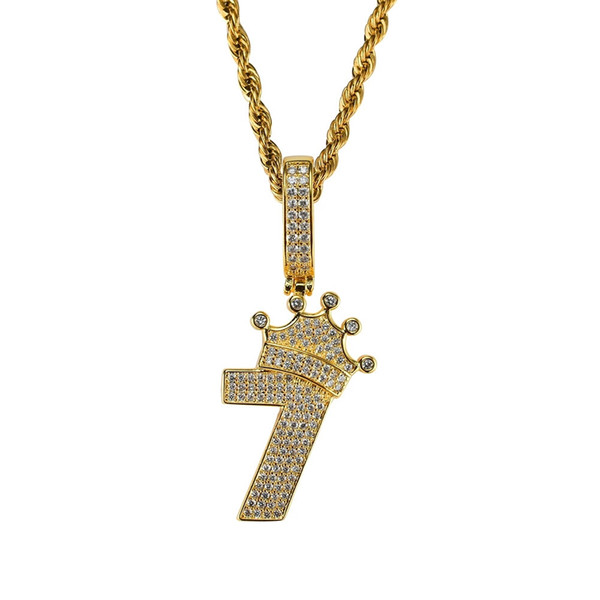 hip hop crown number 7 diamonds pendant necklaces for men women numbers luxury necklace real gold plated copper zircons chain birthday gift