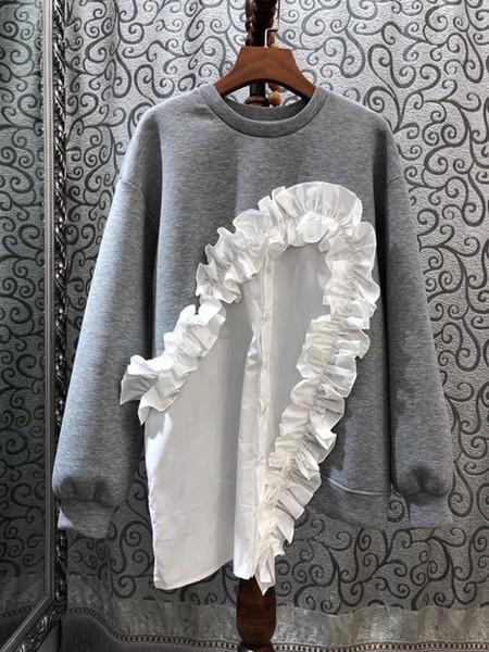 2019 early autumn new women's round collar irregular pleated stitching stripes decorative long-sleeved 100-jacket 1008