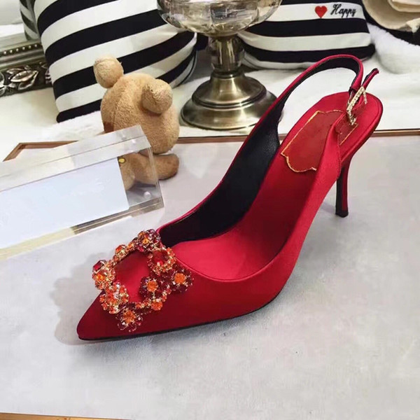 classic women Brand High Heels Patent Leather Pointy Toe Dress Shoes Luxury Shallow Mouth Red Sole Wedding Shoes by18122002