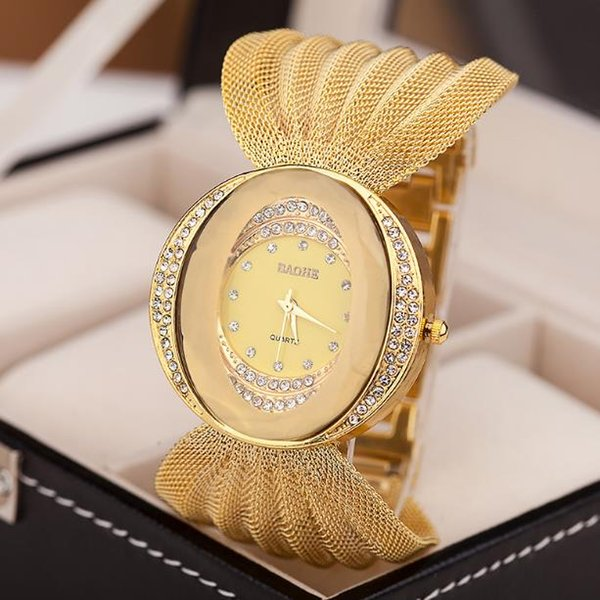 Hot style watch oval wide band gold silver mesh watch ladies fashion watch life waterproof alloy jewelry buckle
