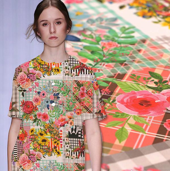 140 cm de ancho estampado de flores de seda medidor de tela impresión digital seda crepe de chine camisa de tela vestido de tela al por mayor