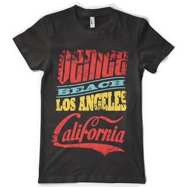 Black Tee Shirt Venice Beach T-Shirt 100% Cotton Super Size Fashion Men T Shirt for Summer Plain Fitness Men TShirt