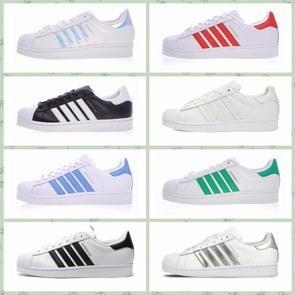 Adidas Original Superstar 2017 Sapatos Clássicos Homens Sapatos Para As Mulheres Sapatos Sapato Branco Laser Dazzle ver Superstar Shell Head Sneakers Frete Grátis size36-44