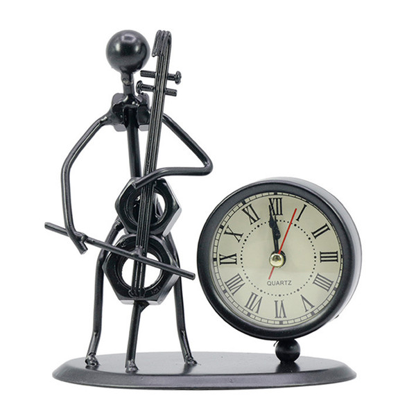 best selling Classic Vintage Old Fashion Iron Art Musician Clock Figure Ornament For Home Office Desk Decoration Gift Cello