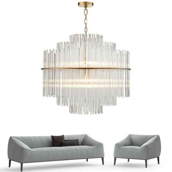 Modern Chandelier Lighting Luxury Living Room Glass Rod Hanging Light Round Luxury Home Decoration Crystal Lamps