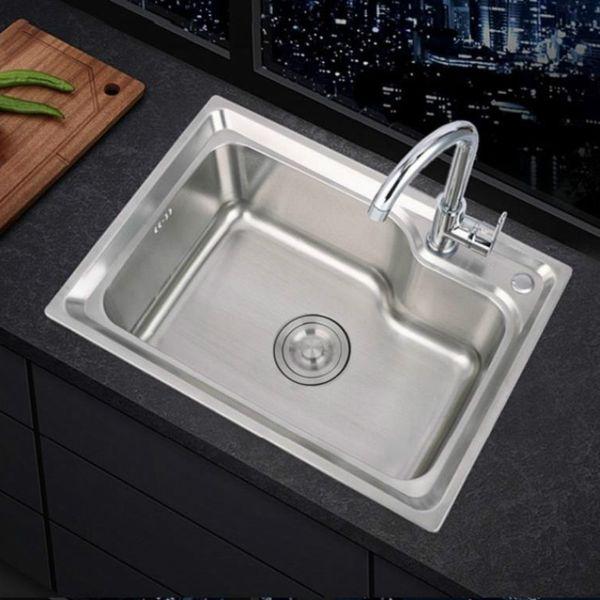 best selling 304 stainless steel sinks single sink kitchen sink single basin thickened sink large single slot set