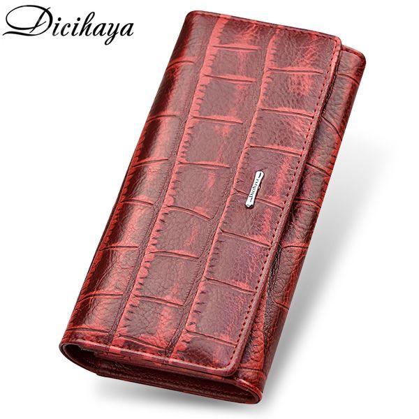 Dicihaya Brand Genuine Leather Long Women Wallet Alligatos Hasp Clasp Purse Clutch Money Phone Bag Card Holder Female Wallets Y19052302
