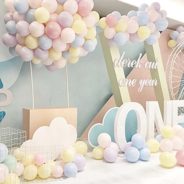 100pcs / 10inch Macaron Balloon Wedding Colorful Birthday Party Decoration Decorazione del partito Decorazione del palloncino Gonfiabili palloncini in lattice Giocattoli per bambini