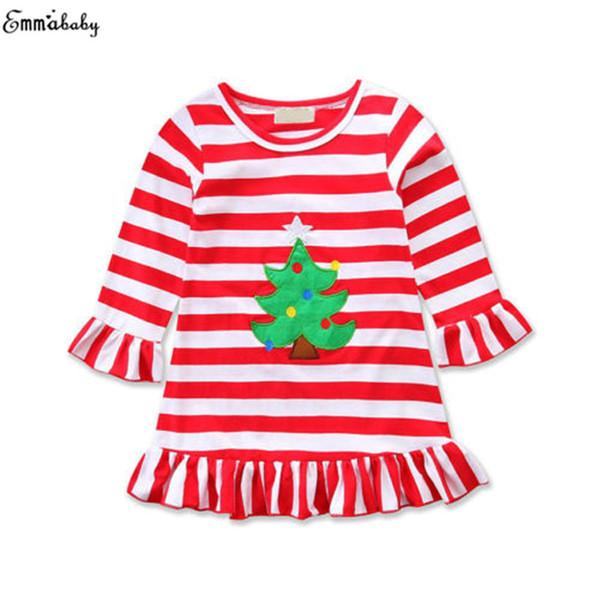 Natale belli del bambino dei capretti delle neonate vestiti Fille Jolie a righe a maniche lunghe abito abbigliamento vestidos Outfits