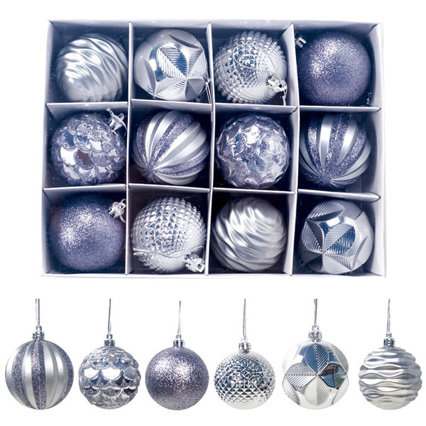 12pcs / Set 60mm de Noël Arbre de Noël Boule Babiole Hanging Partie à la maison Ornement décor coloré d'or Red Ball Higt Qualité