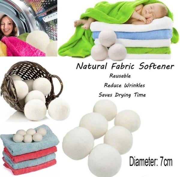 7 cm Kullanımlık Çamaşır Temiz Topu Doğal Organik Çamaşır Kumaş Yumuşatıcı Topu Prim Organik Yün Kurutma Topları