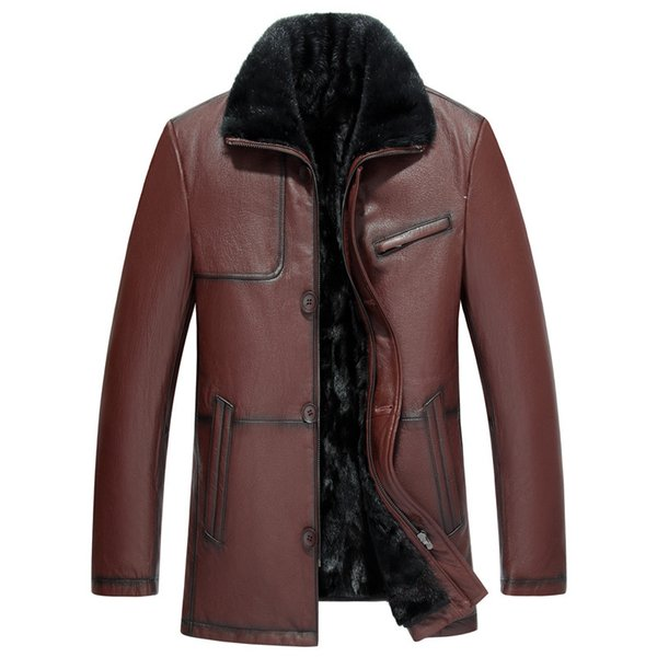2019 Bomber Jacket Men Jaqueta Couro Mink Inner Gallbladder Goat Skin Haining Leather Jacket Men's Fur Overcoat Coat Thickened