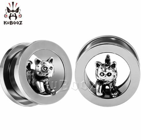 10pcs KUBOOZ Stainless Steel Ear Plugs Tunnels Expander Gauges Earring Stretcher Piercing Ring Body Jewelry Fashion Gift For Women Men
