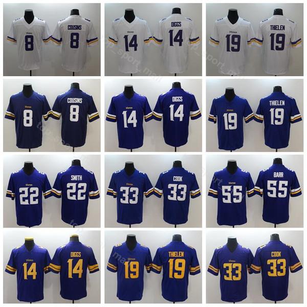 cb823c41409 Vikings Minnesota 14 Stefon Diggs Jersey Men Football 8 Kirk Cousins 19  Adam Thielen 22 Harrison