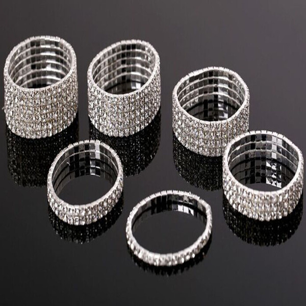 Fashion Jewelry Bangles Multi Row Diamante Rhinestone Crystal Wedding Jewelry Stretch Bracelet Bangle Bling Wristband For Women