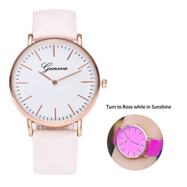 top popular Sun Watches Geneva Solar light Change Color White Fashion Quartz women wristwatch analog casual thermochromic Temperature Discolor watches 2020