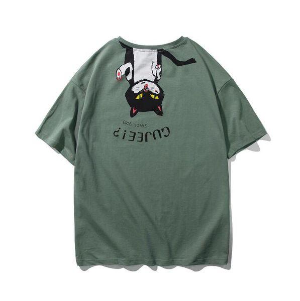 Japanese original design back upside down cat knit short sleeve fashion men and women neutral T-shirt