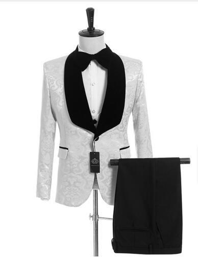 2019 Sexy Preto E Branco Casamento Smoking Padrinhos Ternos em Casamento Smoking (Jacket + Pants + Tie + Vest) Frete Grátis Barato Noivo Desgaste
