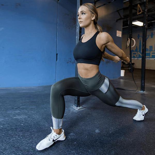 Bolsillo de Cintura Alta Leggings Mujeres Fitness Entrenamiento Activewear Impresión Pantalones Moda Patchwork Push Up Leggings Mujer