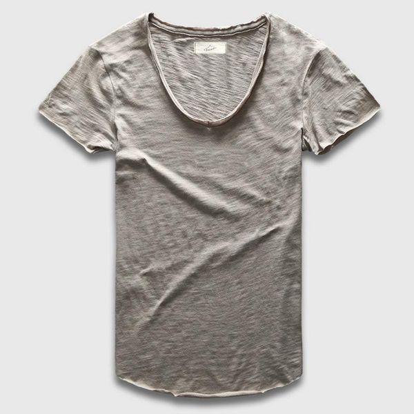 Plain Basic Top Tees Men Casual Deep V Scoop Neck T-Shirt Male Slim Fit T Shirt Luxury Curved Hem Navy Tee Muscle