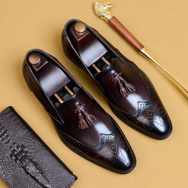 Genuine leather men brogue Business Wedding banquet shoes mens casual flats shoes vintage handmade oxford for men 2019