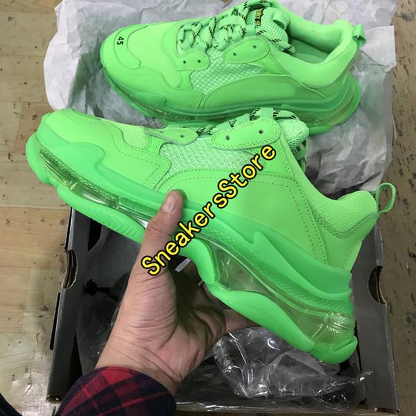 2019 Mode Vert Foncé Triple S Papa Chaussures Meilleure Qualité Triple-S Chaussures Décontractées Dresseur zapatos Beige Noir Hommes Femmes Chaussures Casual Sport 35-45