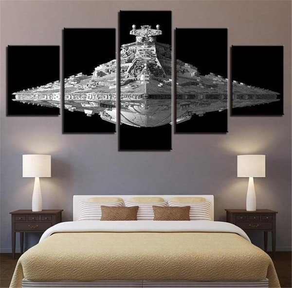 5 Panels Large Size Beautiful Outer Space Flying Saucer Battleship Large Size Home Wall Decor Canvas Print Oil Painting Wall Art Picture