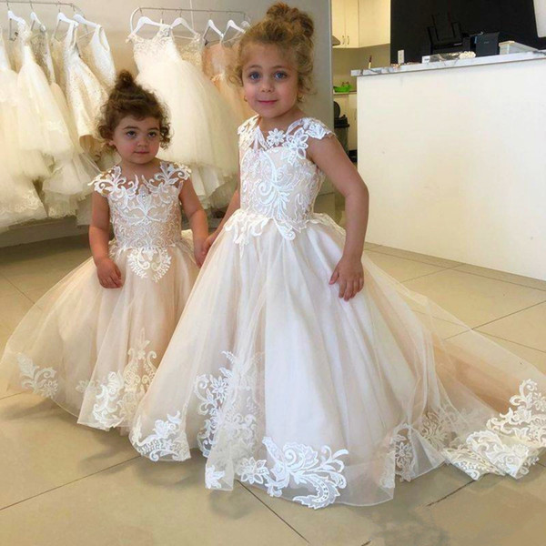Beautiful White Ivory Flower Girl Dress Tiered Tulle A Line Pageant Prom Dresses Girls Children Graduation Gown Custom Made Spaghetti