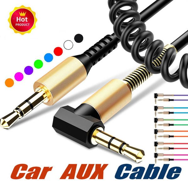 1m 1.5m Spring Stereo Elbow Audio Cable Right Angle 3.5mm Male Line In Car Aux Speaker Extensions Cable For Iphone Computer MP4
