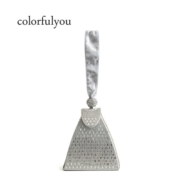 2019 new Silver diamond handbag for women Evening Bag Crystal Clutch Bag Wedding Diamond tote bags Bridal Banquet Mini hand Bags