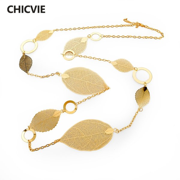 ashion Jewelry CHICVIE Gold Color Statement Leaf Pendant Necklace For Women Maxi Vintage Long Chain Personalized DIY Necklace Jewelry SN...