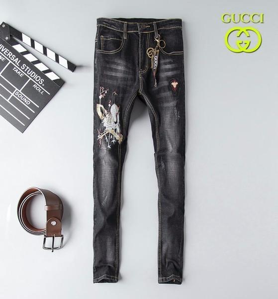 Kişiselleştirilmiş Işlemeli Streç Kot erkek 19 Sonbahar Moda Avrupa ve Amerika Yeni erkek Gençlik Kot 702 56883035