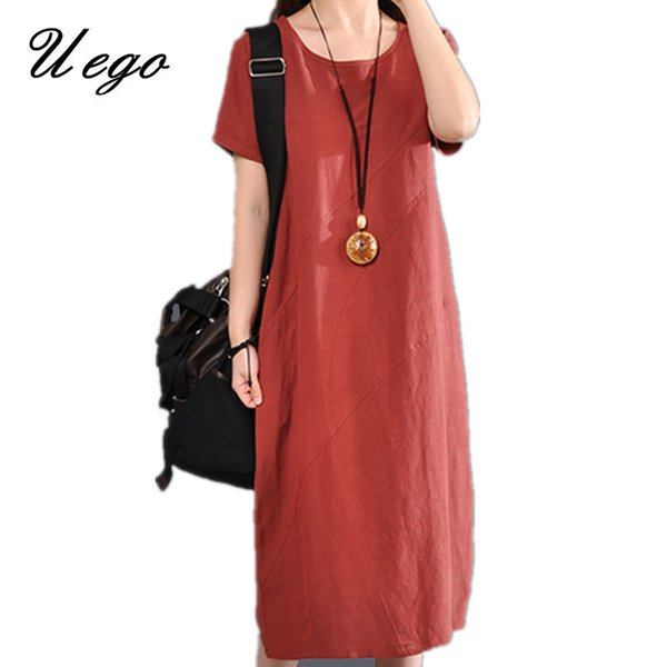 2019 New Arrival Cotton Linen Summer Dress Solid Color Loose Ladies Casual Dress Plus Size Women Midi Dress Female vestidos T190608