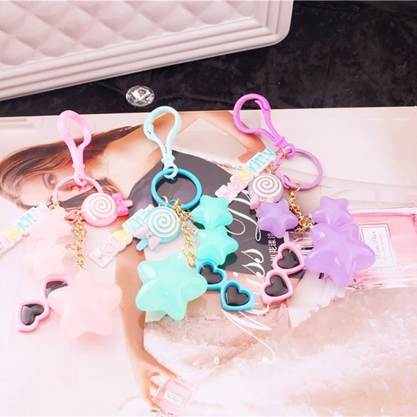 Hot New Cartoon Star Sunglasses Keychain Lollipop Pendant Car Bag Key Chain Fashion Cute KeyRing Women Girl Gift Jewelry