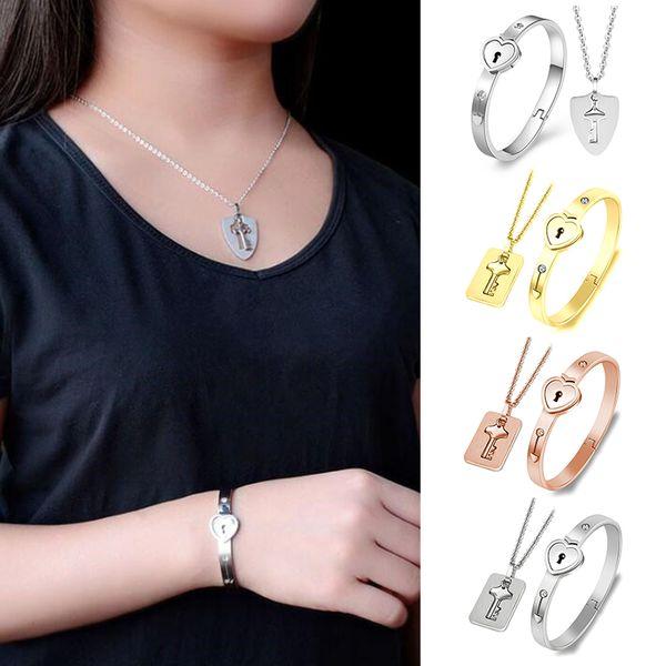 Pareja amor corazón bloqueo pulseras brazalete clave colgante collar joyería decoración regalo CX17