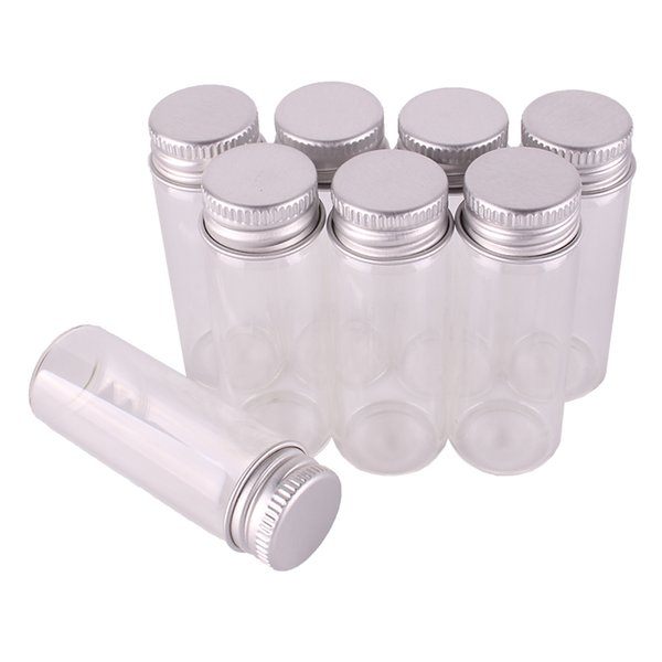 50pcs Size 22*60mm 14ml Transparent Glass Perfume Spice Bottles Tiny Jars Vials With Silver Screw Cap DIY Craft