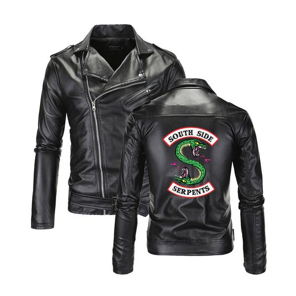 Cool Southside Riverdale Col rabattu Vestes En Cuir Serpents Hommes Riverdale Streetwear En Cuir Marque sud côté Serpents