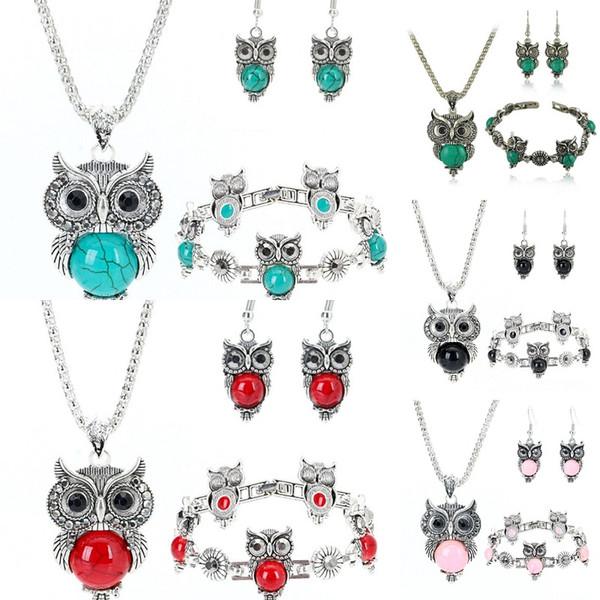 top popular Fashion 10pcs lot Classical Owl Turquoise 3 Piece Set Vintage Bohemia style Bracelet Pendant Necklace Earring Natural Stone Jewelry Set Gift 2020