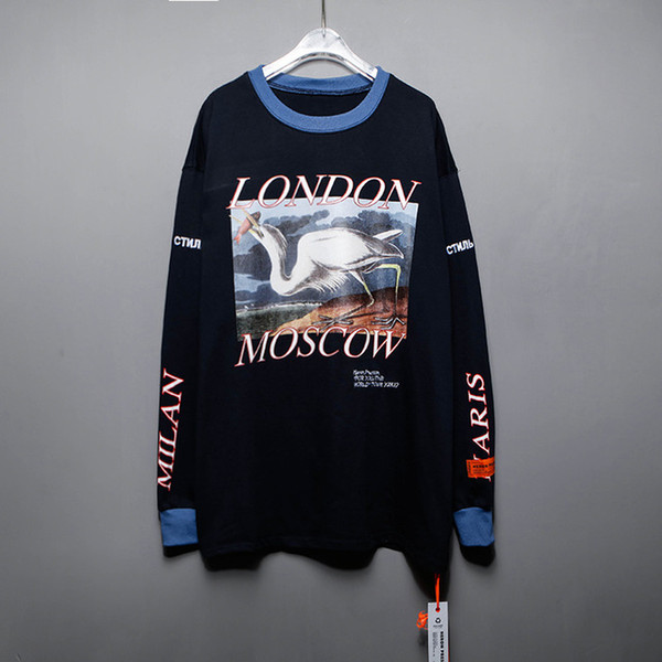 Beste Qualität h1: 1 Reiher Preston Blue Heron Printed Frauen Männer Baumwolle T-Shirts T-Shirts Hiphop Übergroße Männer Langarm T-Shirt