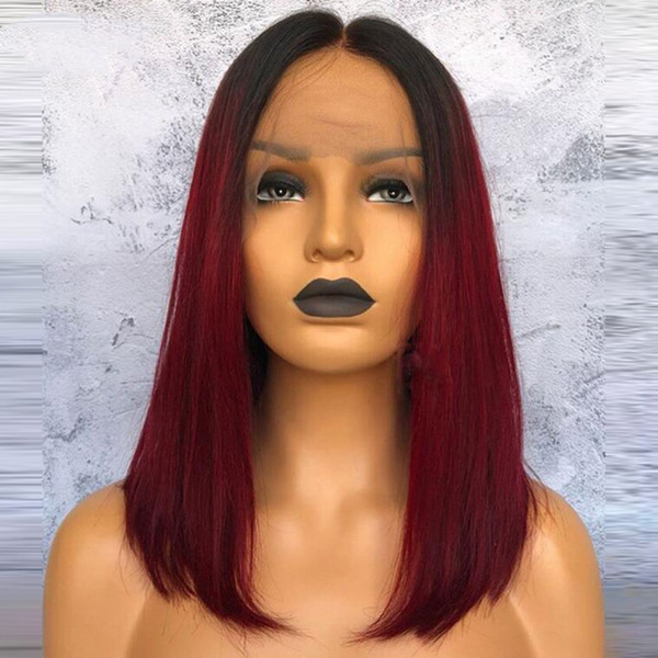 Free Shipping 180% Density Ombre Burgundy Wig Glueless Synthetic Lace Front Wig with Baby Hair 14inch Short Bob Wigs For Black Women