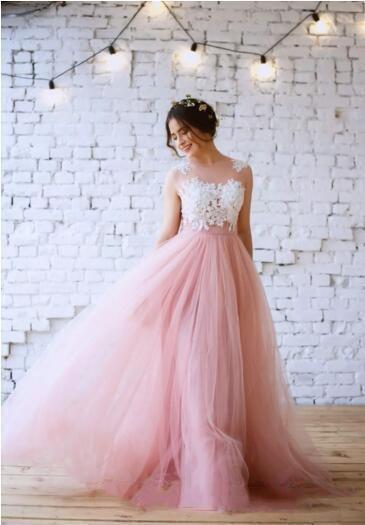 2019 Blush Pink Bohemian Una línea de vestidos de novia de encaje Vestidos de novia de tul Longitud del piso más el tamaño nupcial Vestido de fiesta formal Vestidos